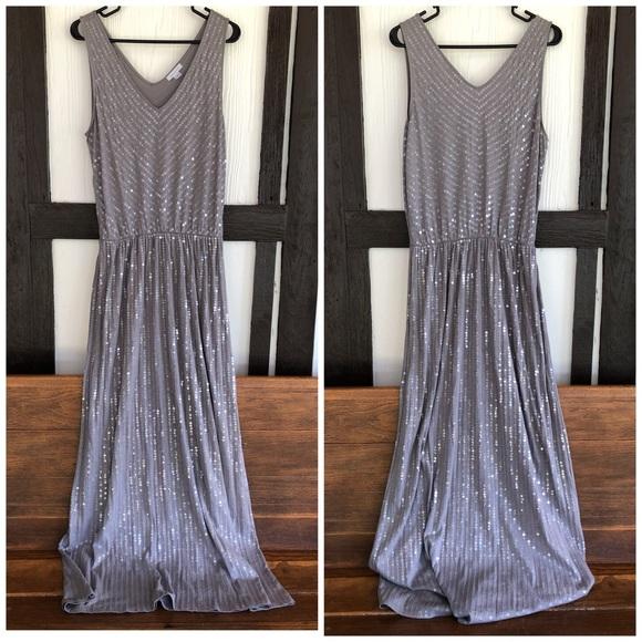 3f090cd839 Garnet Hill Dresses & Skirts - Garnet Hill Sequin Cloud Gray Festive Maxi  Dress